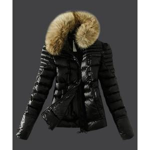 2016 Moncler Womens Down Jackets Zip Fur Collar Black