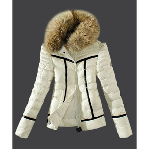2016 Moncler Womens Down Jackets Zip Fur Collar White