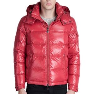 Moncler Maya Winter Down Jacket Mens Short Glossy Zip Red