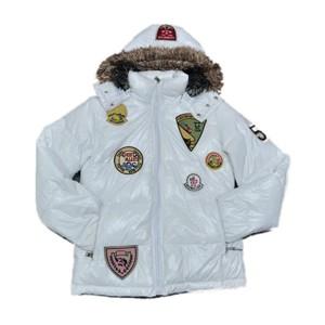 Moncler Multiple Logo Men And Women Down Jacket Hooded White