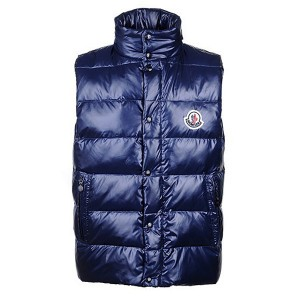 Moncler Unisex Down Vests Single-Breasted Navy Blue