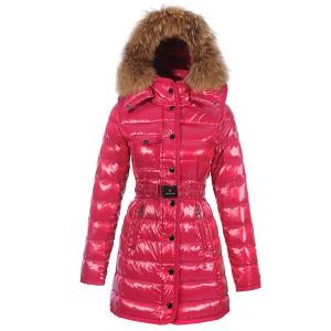 Moncler Armoise Coat For Women Rose Red Long