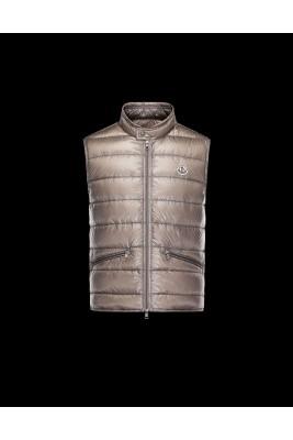 2017 New Style Moncler Unisex Down Vests Zip Apricot