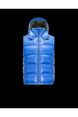 2017 New Style Moncler Maya Winter Mens Down Vests Fabric Smooth Blue