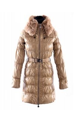 Moncler Classic Down Coat Women Zip Fur Collar With Belt Kahki