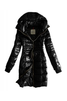 Moncler Coat Women Gold Zip Hooded Black Long