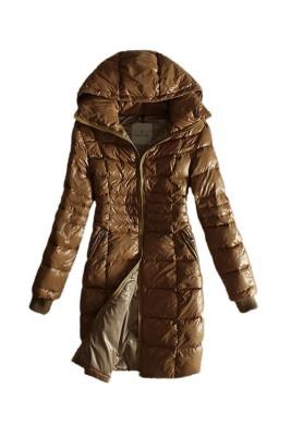 Moncler Coat Women Gold Zip Hooded Khaki Long