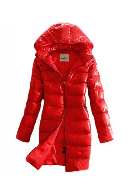 Moncler Coats Down Women Smooth Shiny Fabric Red