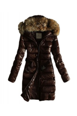 Moncler Coats Women Pure Color Hooded Fashion Coffee