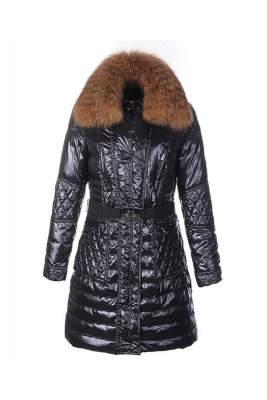 Moncler Down Coat Women With Belt Long Black