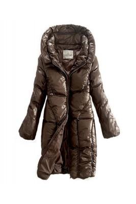 Moncler Down Women Coats Zip Style Long Brown