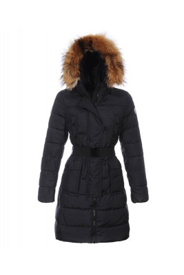 Moncler Genevrier Women Coats Hooded Long Black