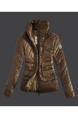 2016 Moncler Design Women Down Jacket Stand Collar Coffee