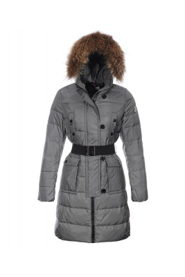 Moncler Genevrier Women Coats Hooded Long Grey