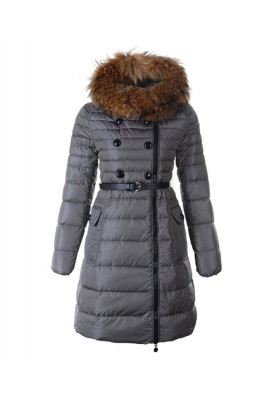 Moncler Herisson Fashion Coat Womens Long Gray