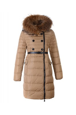 Moncler Herisson Fashion Coat Womens Long Khaki