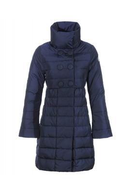 Moncler Johanna Coats Down Women Blue Stand Collar