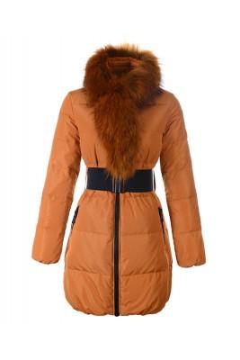 Moncler Lievre Womens Coat Designer Long Orange
