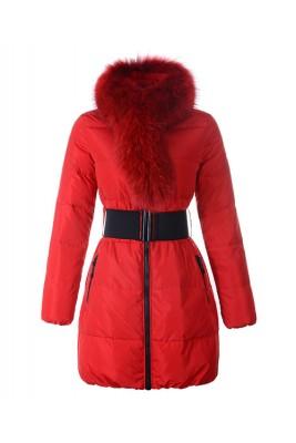 Moncler Lievre Womens Coat Designer Long Red