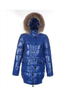 Moncler Loire Coat Women Fur Hoodie Zip With Button Blue