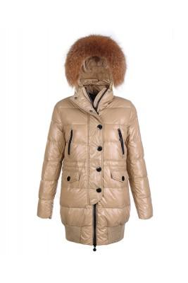 Moncler Loire Coat Women Fur Hoodie Zip With Button Khaki