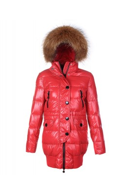 Moncler Loire Coat Women Fur Hoodie Zip With Button Red