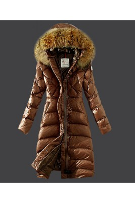 2016 Moncler Down Coat Women Hooded Windproof Coffee