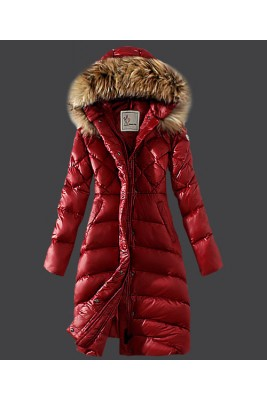 2016 Moncler Down Coat Women Hooded Windproof Red