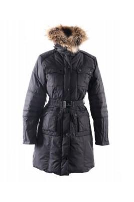 Moncler Marmelade Womens Down Coats Fur Collar With Belt Black