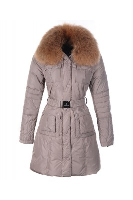 Moncler Marmelade Womens Down Coats Fur Collar With Belt Coffee