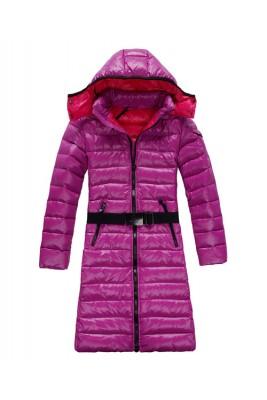 Moncler Mokacine Classic Womens Down Coats Zip Belt Style Pink