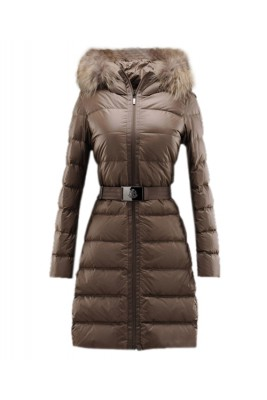 Moncler Nantesfur Top Quality Women Coat Belt Decoration Brown