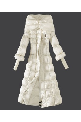 2016 Moncler Down Coat Women Stand Collar Slim White