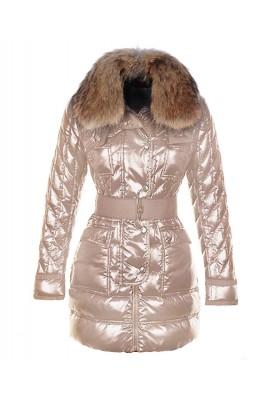 Moncler Safran Coats Women Smooth Shiny Fabric Beige