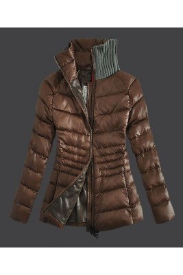 2016 Moncler Down Jackets For Womens Zip Stand Collar Coff