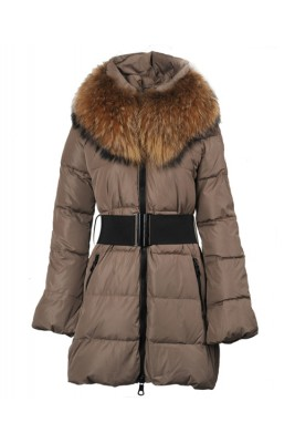 Moncler Sauvage Women Down Coat Fur Collar Long Brown