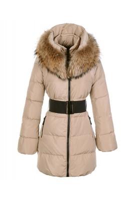 Moncler Sauvage Women Down Coat Fur Collar Long Khaki