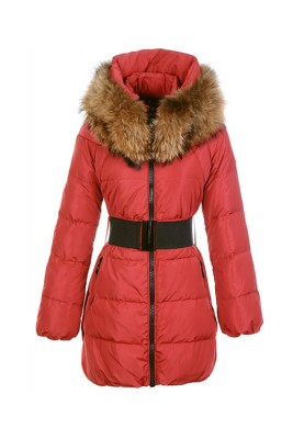 Moncler Sauvage Women Down Coat Fur Collar Long Red