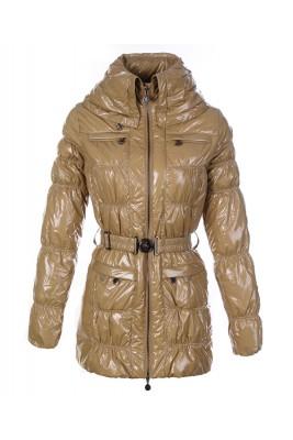 Moncler Womens Down Coats Skinny Zip Decorative Belt Cream-Color