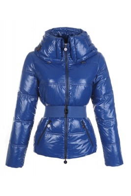 Moncler Aliso Designer Womens Down Jackets With Belt Dark Blue