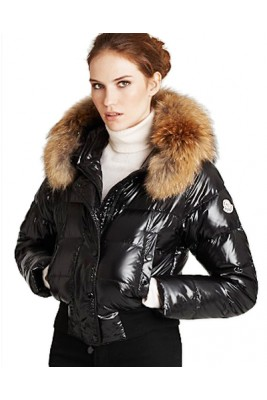 Moncler Alpin Classic Eider Down Jackets Women Fur Collar Black