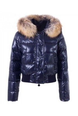 Moncler Alpin Classic Eider Down Jackets Women Fur Collar Blue