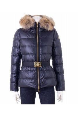 Moncler Angers Womens Jackets Decorative Belt Hooded Navy Blue