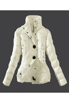 2016 Moncler Down Jackets Womens Stand Collar White