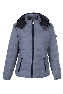 Moncler Bady Winter Women Down Jacket Zip Hooded Light Gray