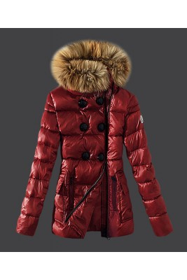 2016 Moncler Down Jackets Womens Zip Fur Collar Red