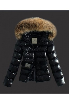 Moncler Classic Jackets Womens Hooded With Belt Black