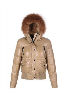 Moncler Classic Women Down Jacket Single-Breasted Slim Khaki