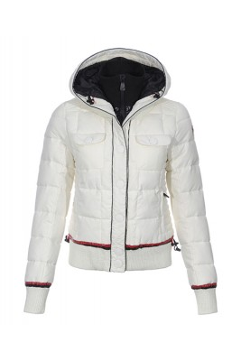 Moncler Down Jackets Winter Women Zip Hooded White