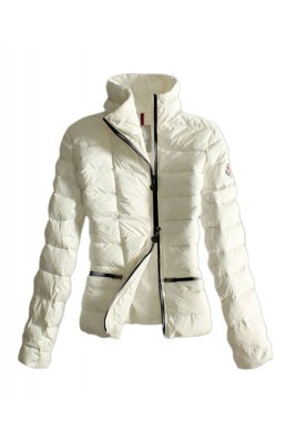 Moncler Down Jackets Womens Black Zip Pure Color White